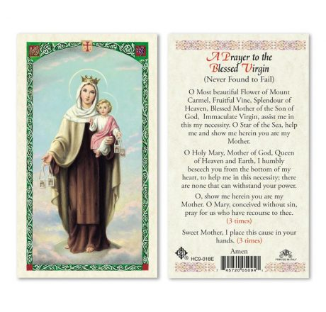 hc9-018e Our Lady of Mt. Carmel Holy Cards